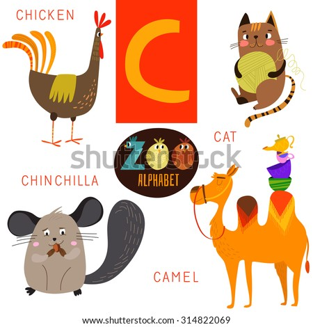 cute zoo alphabet in vectorc