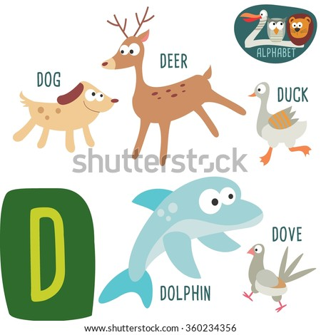 e0bf8b691 Vector Illustration. Cute zoo alphabet in vector.D letter. Funny cartoon  animals: Dog Deer,