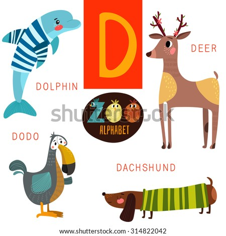 cute zoo alphabet in vectord