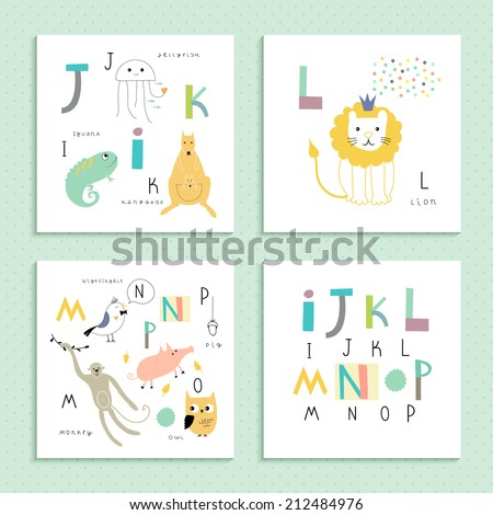 cute zoo alphabet in vector  i