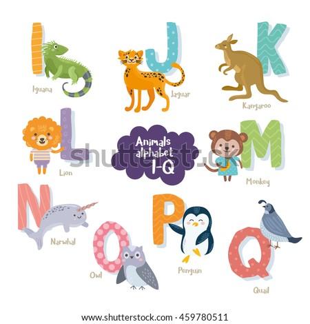cute zoo alphabet in vector i