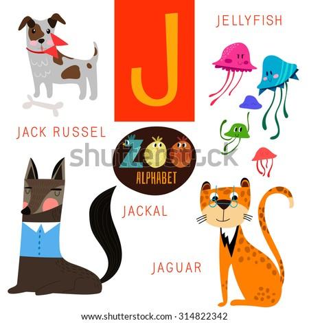 cute zoo alphabet in vectorj