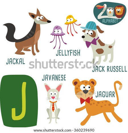 cute zoo alphabet in vector j