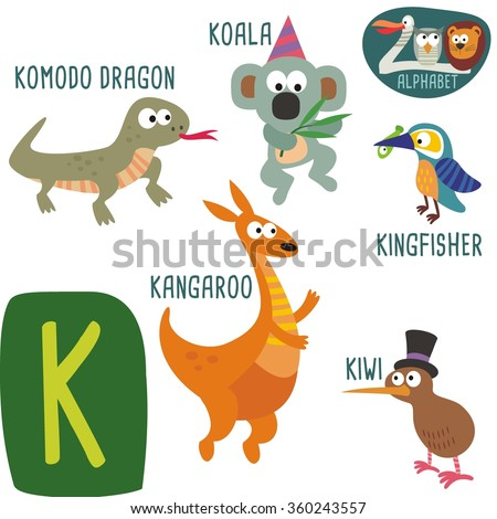 cute zoo alphabet in vector k