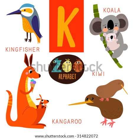 cute zoo alphabet in vectork
