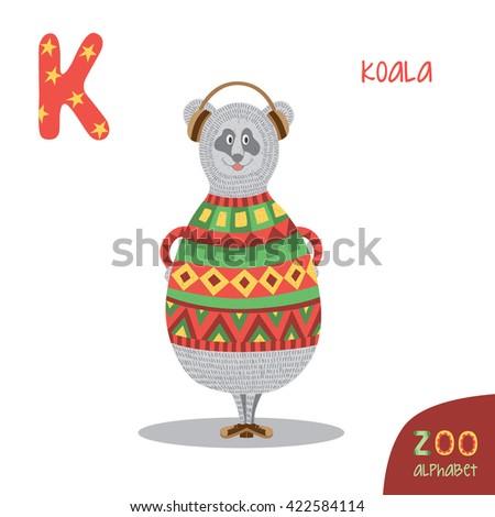 cute zoo alphabet in vector k