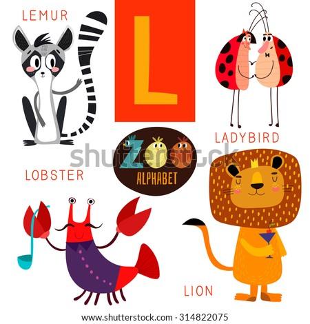 cute zoo alphabet in vectorl
