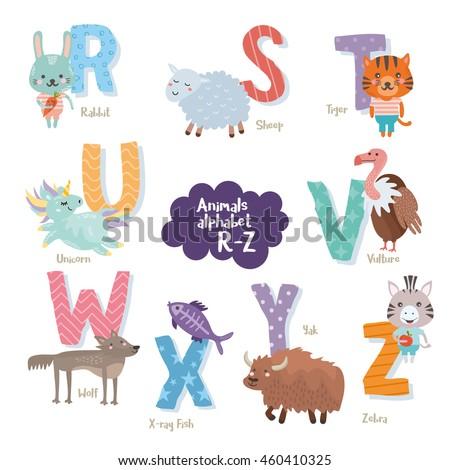 Cute zoo alphabet in vector. R, s, t, u, v, w, x, y, z letters. Funny cartoon animals. Rabbit, sheep, tiger, unicorn, vulture, wolf, x-ray fish, yak, zebra. Stok fotoğraf ©