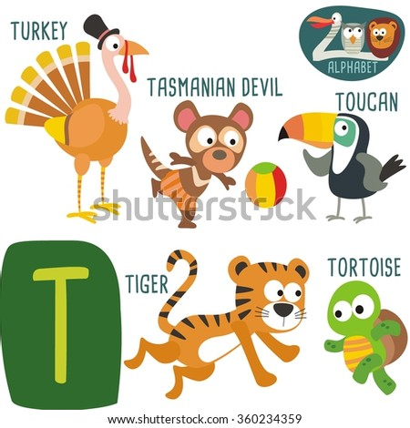 cute zoo alphabet in vectort
