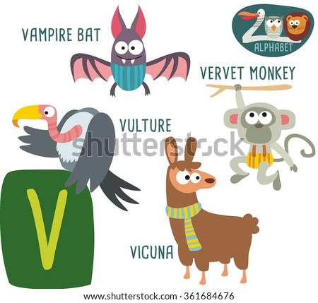 cute zoo alphabet in vector v