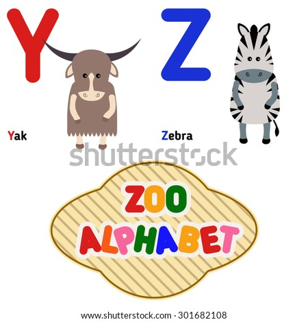 cute zoo alphabet in vector y