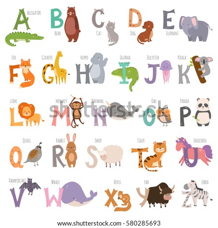 cute zoo alphabet with cartoon