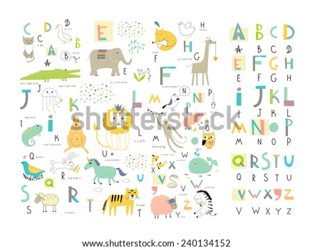 cute zoo alphabet with funny