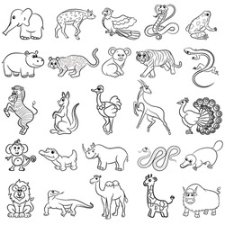 Cute zoo animals collection. Vector illustration.
