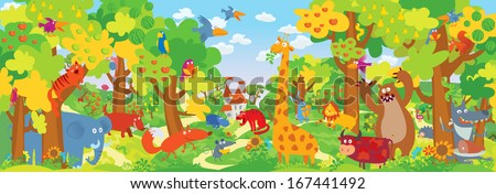 cute zoo animals vector