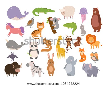 cute zoo cartoon animals...
