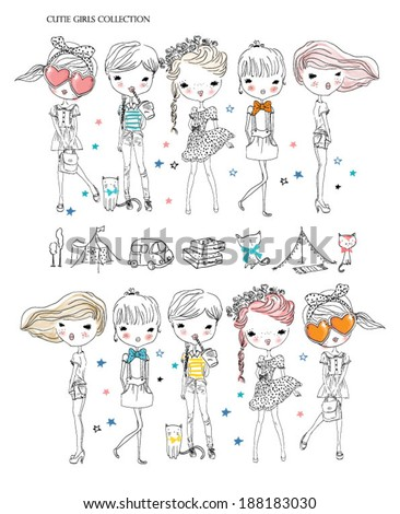 stock-vector-cutie-girl-collection