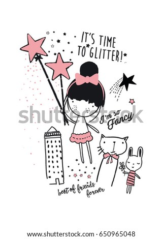 Shutterstock cutie girl illustration with magic 2