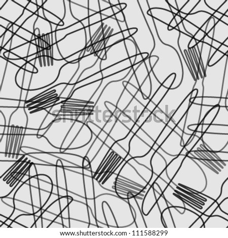 cutlery black & grey outline seamless pattern