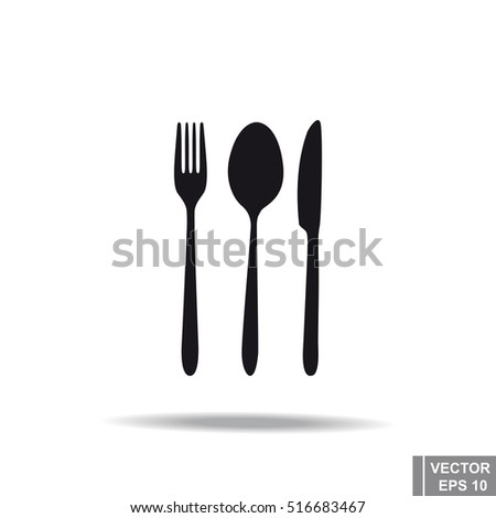 Cutlery. Food. Serving. Black silhouette. Icon. For your design
