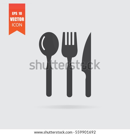 Cutlery icon in flat style isolated on grey background. For your design, logo. Vector illustration.