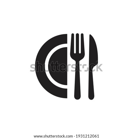 Cutlery icon. Spoon, forks, knife, plate. restaurant business concept, vector illustration ストックフォト ©
