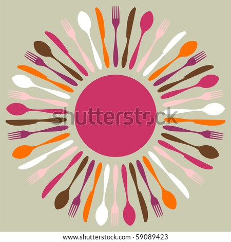 Cutlery icons Fork knife and spoon silhouettes in circle on beige background Vector available.