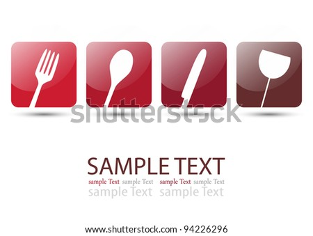 Cutlery icons red