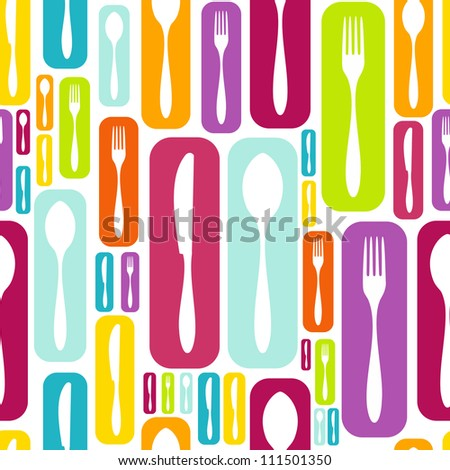 Cutlery icons seamless pattern background. Fork, knife and spoon vector illustration layered for easy manipulation and custom coloring.