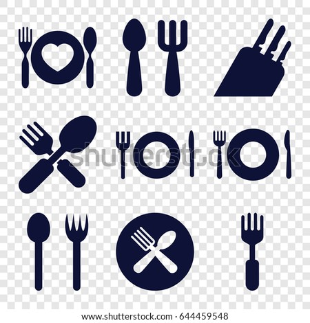 Cutlery icons set. set of 9 cutlery filled icons such as plate fork and spoon, fork and spoon