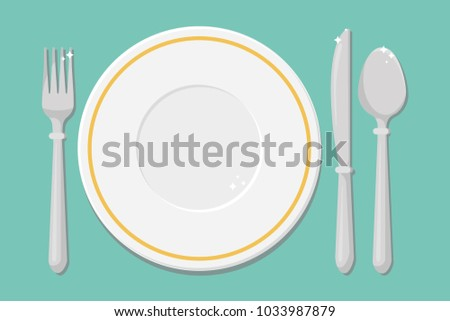 Cutlery on the table table setting. Empty plate fork spoon knife  sc 1 st  Vecteezy & Dinner Table Setting - Download Free Vector Art Stock Graphics u0026 Images