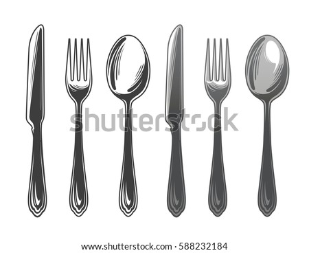 Cutlery set spoon, fork and knife. Tableware, top view. Vector illustration