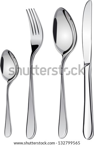Cutlery set with Fork, Knife and Spoon isolated vector