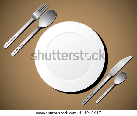 cutlery set with white plate, fork, knife and spoon