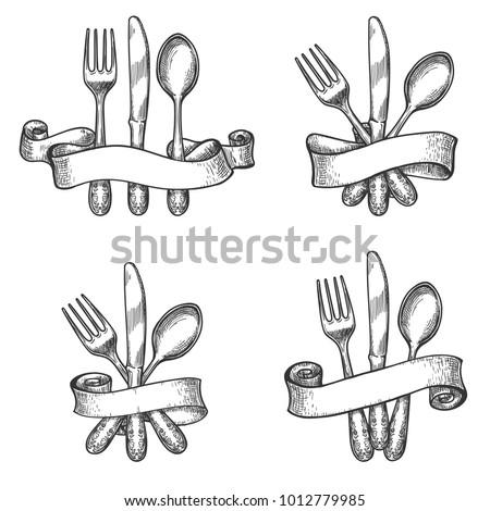 cutlery sketch. vintage dinner...