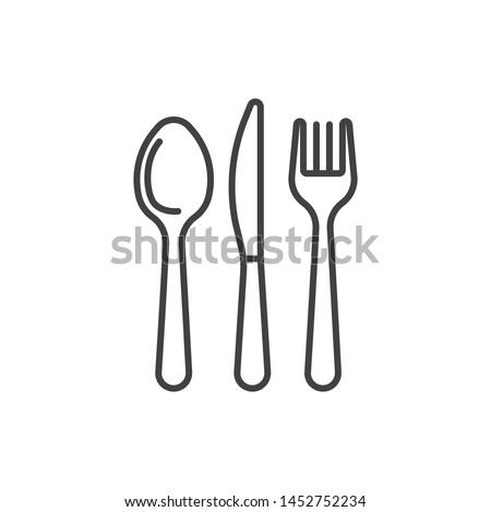 Cutlery, tableware, restaurant, knife, spoon, fork line icon.
