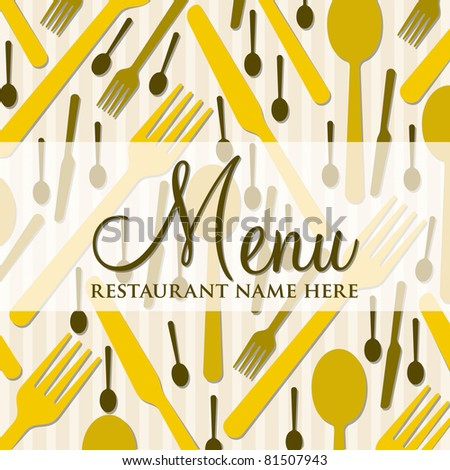 Cutlery theme bright menu in vector format.