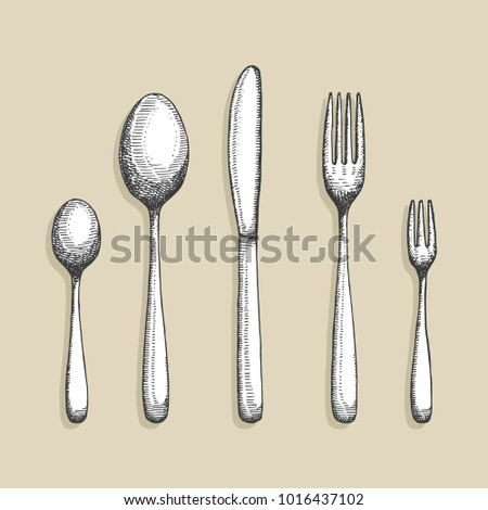cutlery vector. a set of spoon forks and a knife