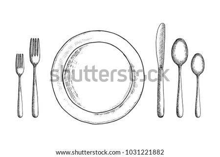 cutlery vector sketch set. spoon fork and knife near the plate. table setting  sc 1 st  Vecteezy & Dish With Cutlery - Download Free Vector Art Stock Graphics u0026 Images