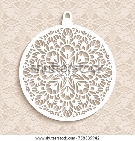 Cutout paper Christmas ball on ornamental beige background, vector decoration for laser cutting or wood carving, eps10