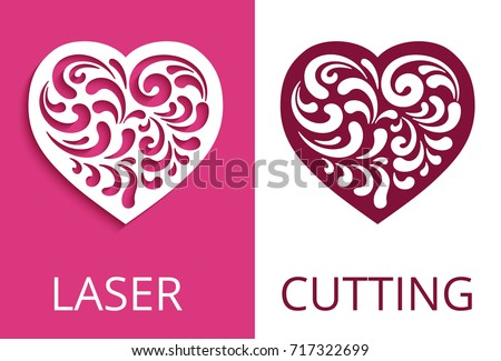 Cutout Paper Heart Silhouette Decorative Floral Element Curly Vector Pattern For Laser Cutting Or
