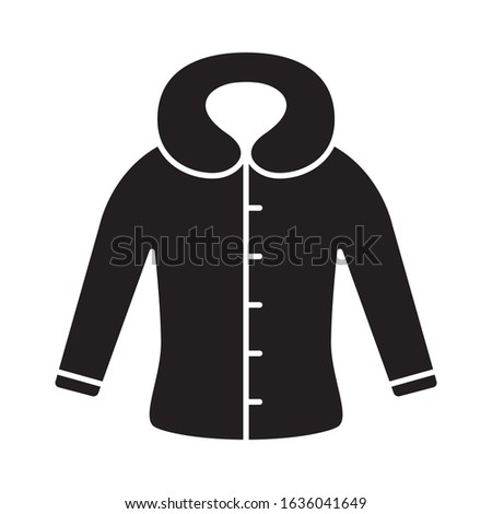 Cutout silhouette fitted coat or jacket with hood icon. Outline template for logo. Black and white simple illustration. Flat hand drawn isolated vector image on white background Foto d'archivio ©