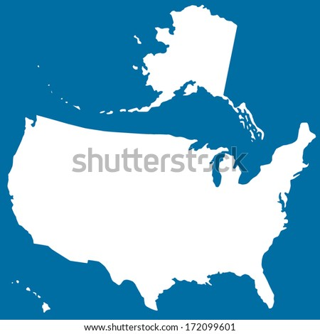 Cutout silhouette map of the USA