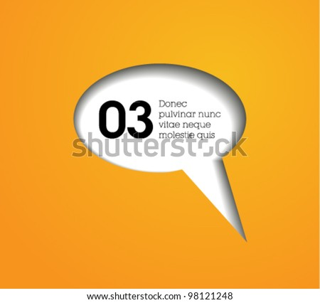 cutout speech bubble vector / modern design / orange text cloud