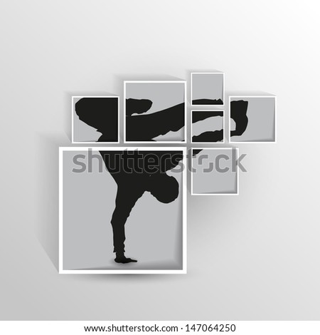 cutted dancing silhouette in