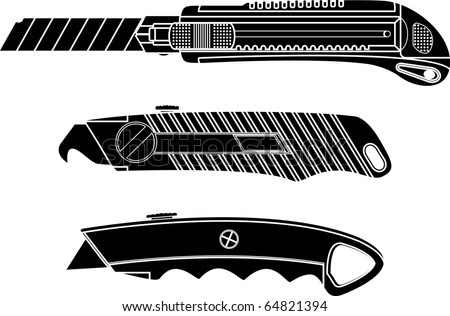 cutter knifes. stencil. vector illustration
