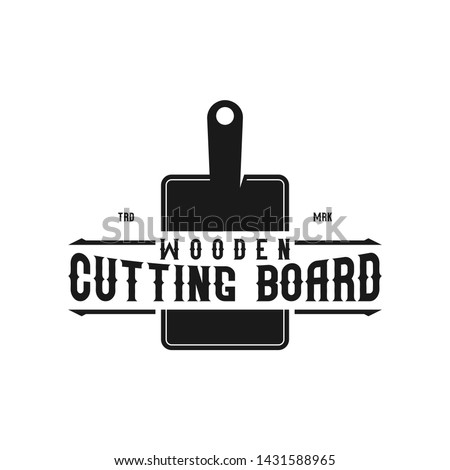 Cutting board logo design for kitchen and food
