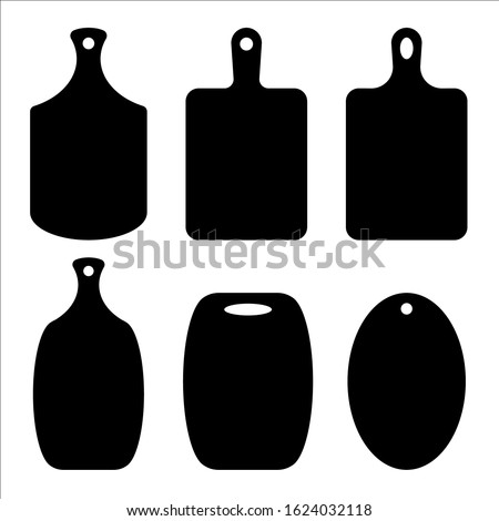 Cutting board set. Kitchen board contour. Boards for serving dishes, board for bread. Laser cutting, vector file. Stock photo ©