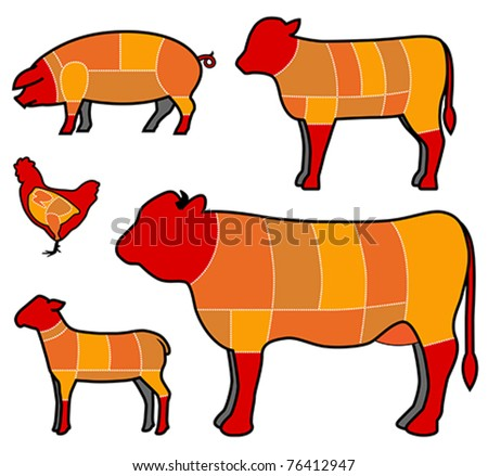 cutting meat - stock vector