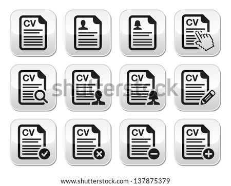 cv curriculum vitae resume vector buttons set